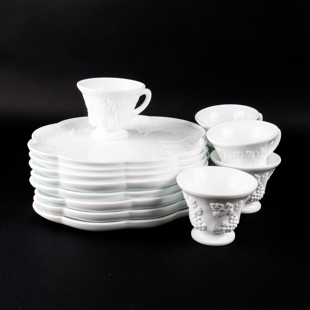 Milk Glass Luncheon Plates with Matching Cups