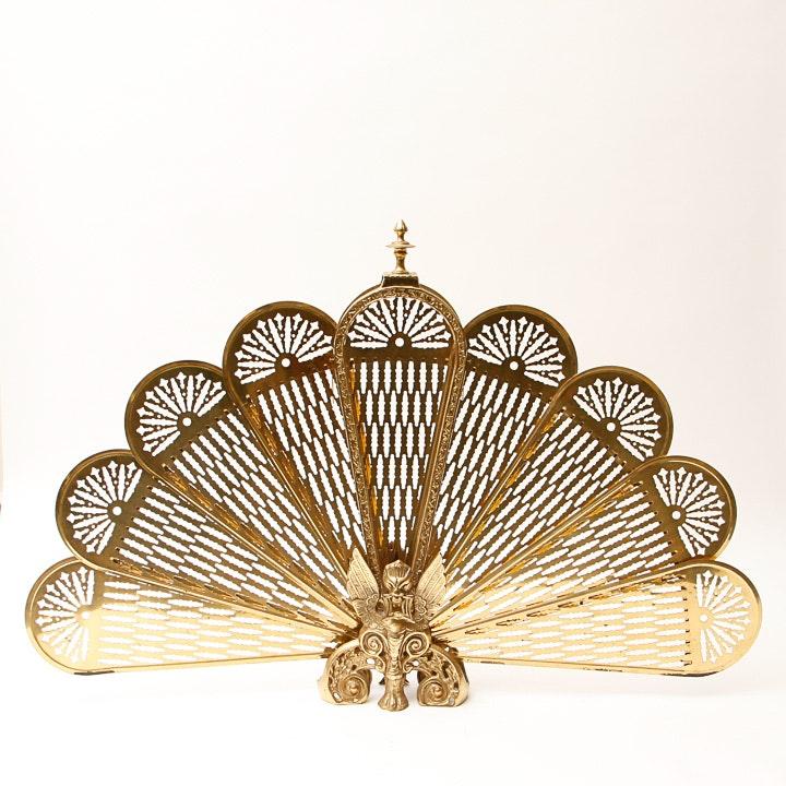 Decorative Brass Fireplace Peacock Fan