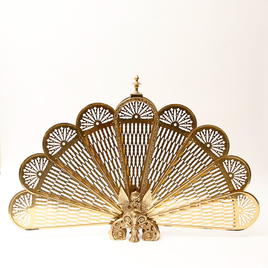 Decorative Brass Fireplace Peacock Fan Ebth