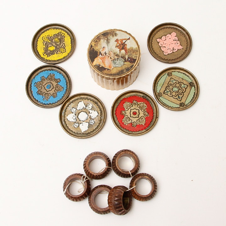 Assortment of Decorative Coaster and Napkin Rings