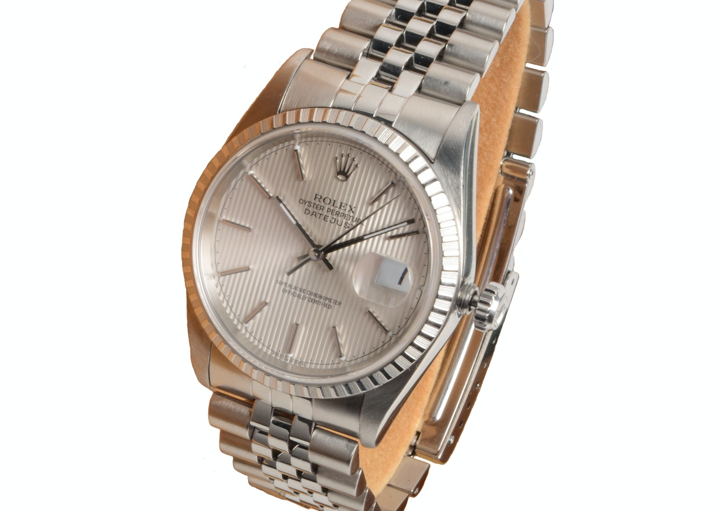 Rolex Datejust Steel 16220 36mm Silver Tapestry Automatic Watch
