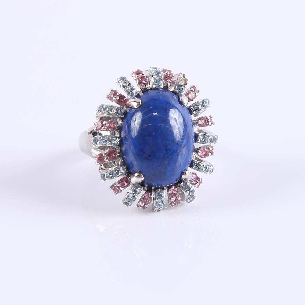 14K Lapis Lazuli Topaz and Sapphire Cocktail Ring