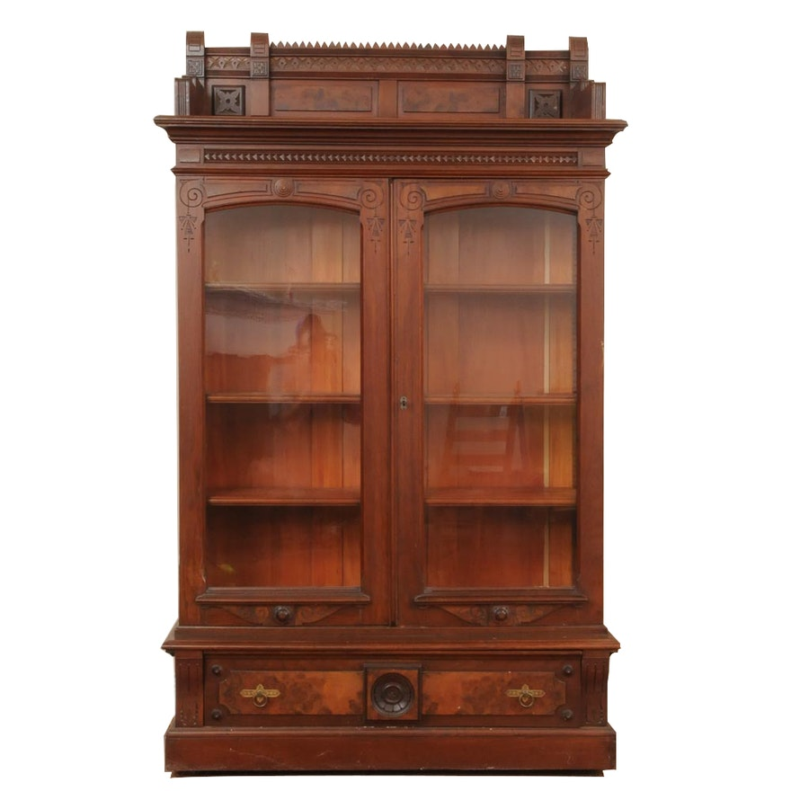 Antique Eastlake Gl Front Bookcase Circa 1880