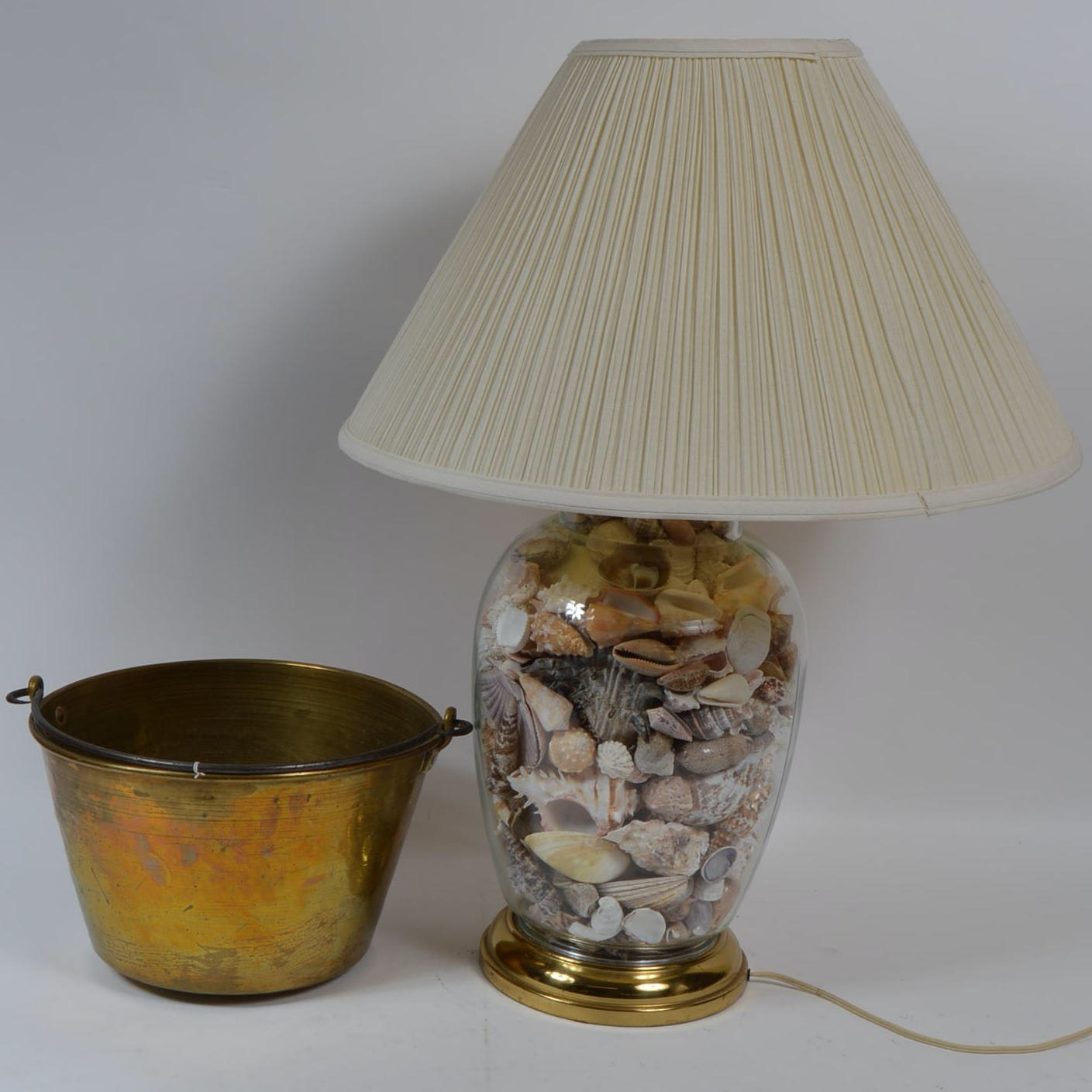 Brass and Shell Accent Lamp and Brass Bucket