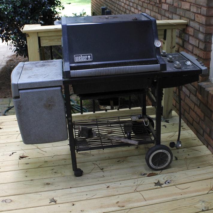 Black Weber Silver Gas Grill