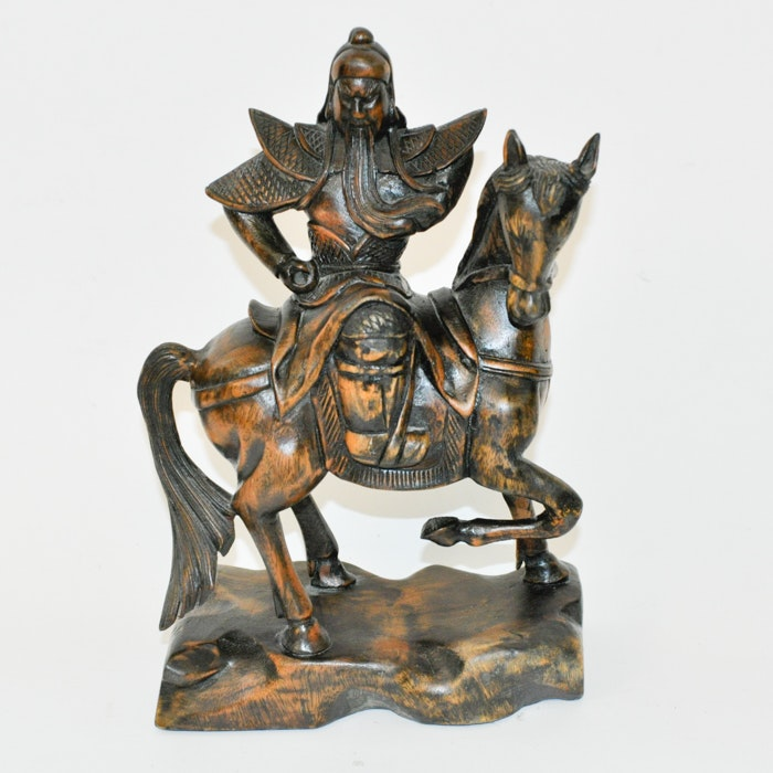 Vietnamese Hand Carved Wooden Statue