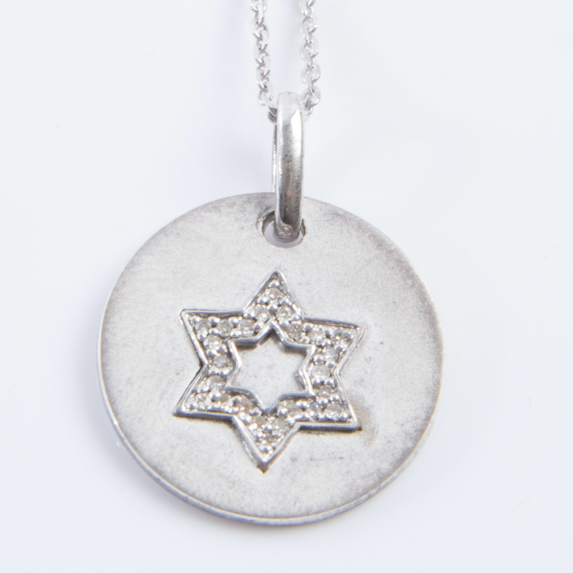 Sterling Silver and Diamond Star of David Necklace