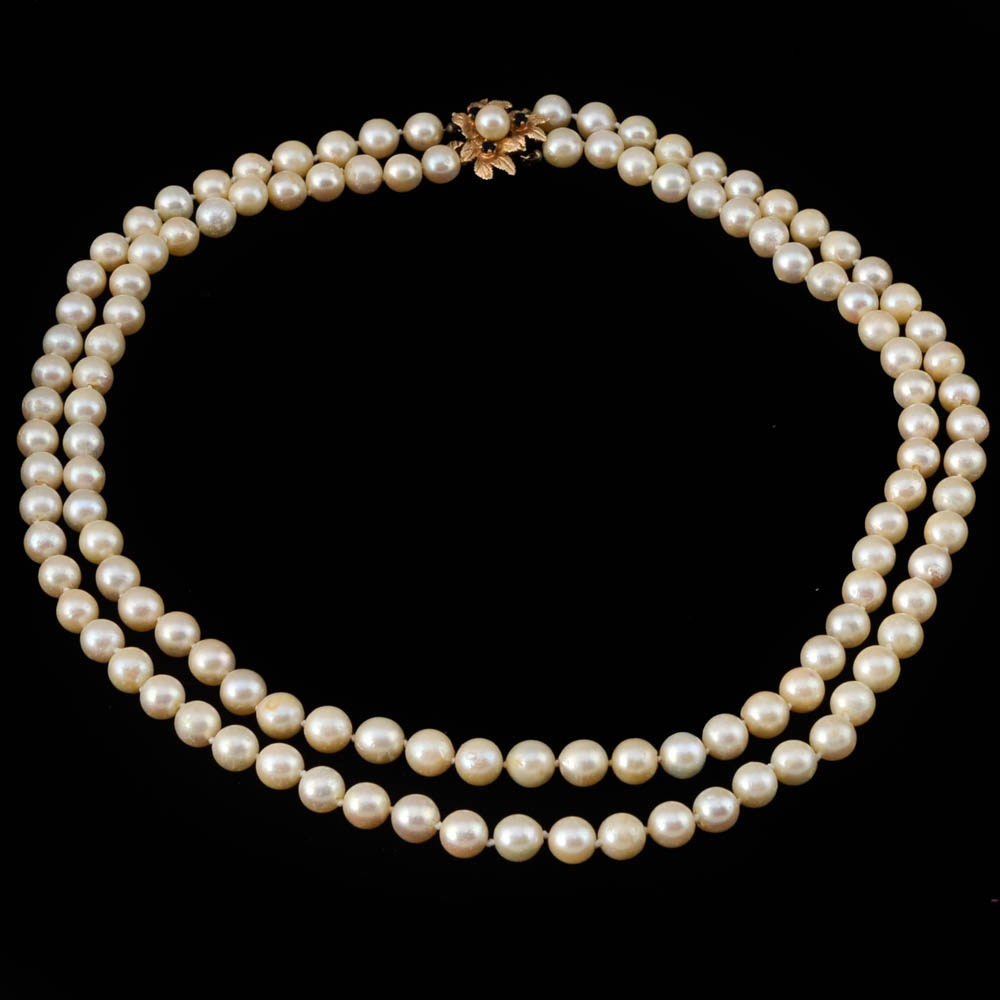 Cultured Pearl Necklace with 14K Gold Sapphire Clasp