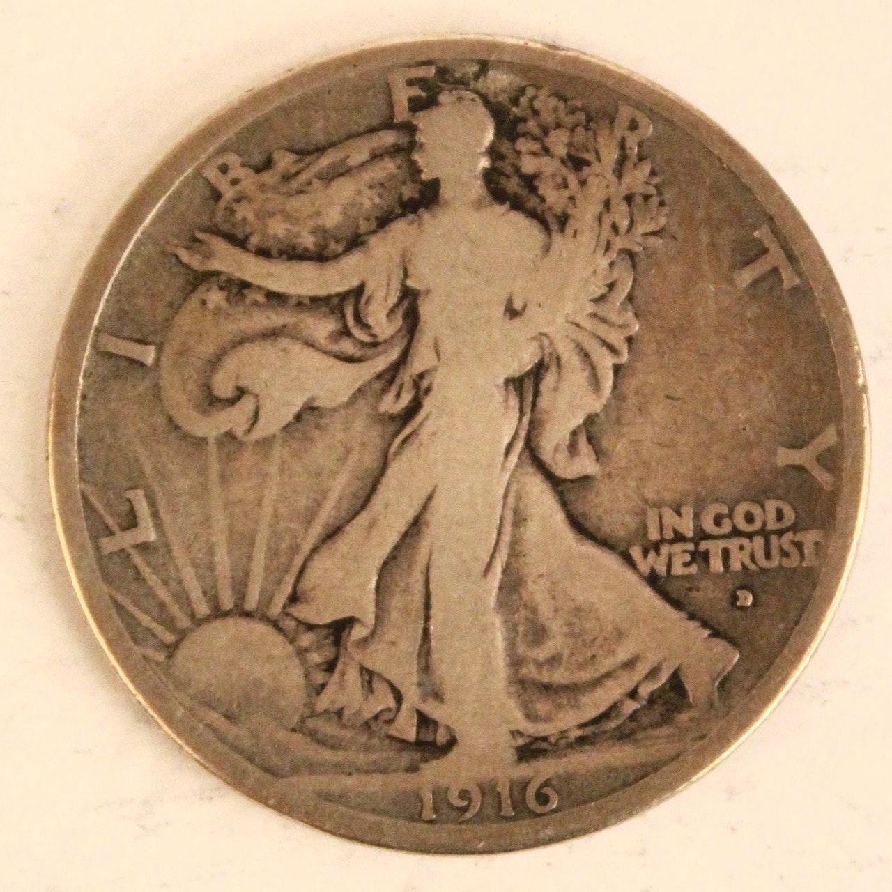 1916 D Walking Liberty Silver Half Dollar