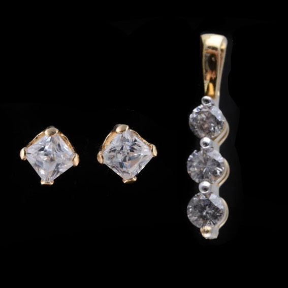 14K Gold Diamond Pendant and CZ Earrings
