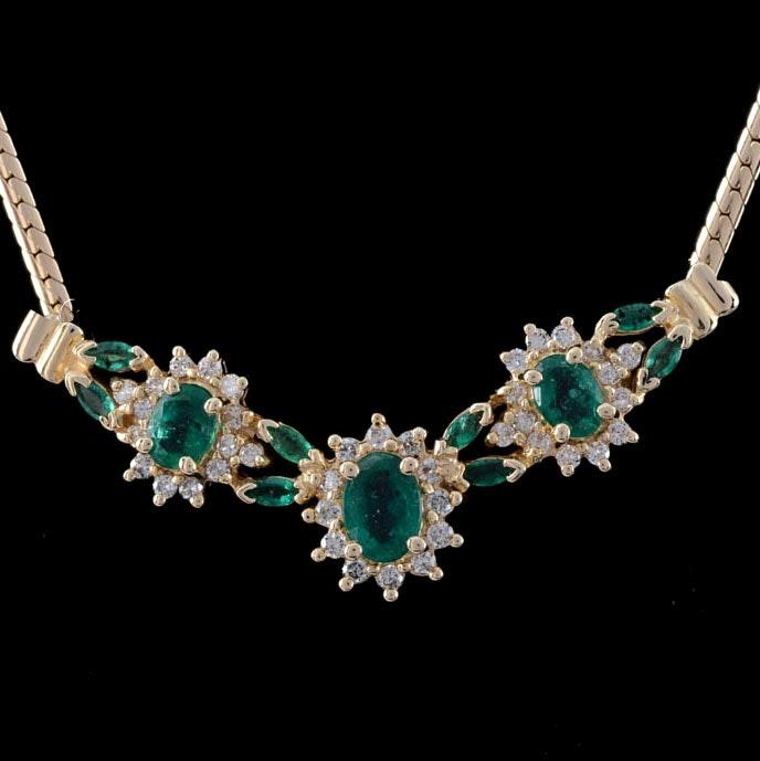 14K Gold Emerald Diamond Necklace
