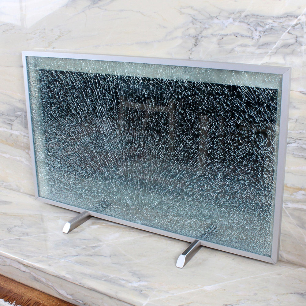 contemporary cracked glass fireplace screen ebth