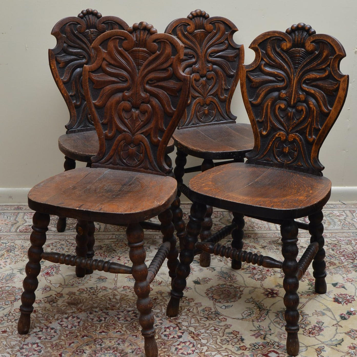 Antique Gothic Revival Oak North Wind Hall Chairs