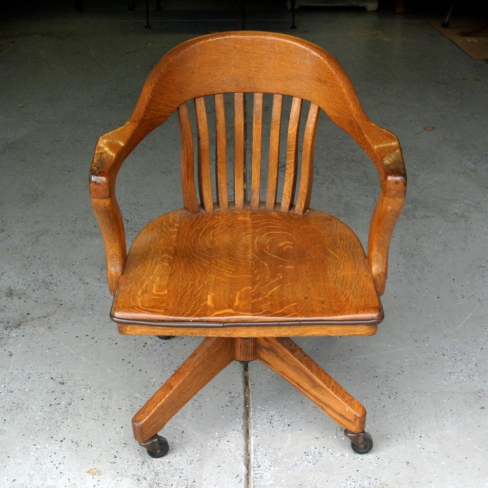 vintage gunlocke style oak chair