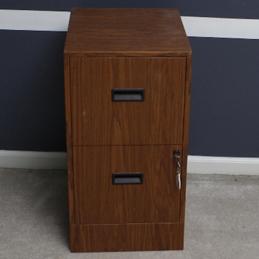 Faux Woodgrain Finish Metal Filing Cabinet