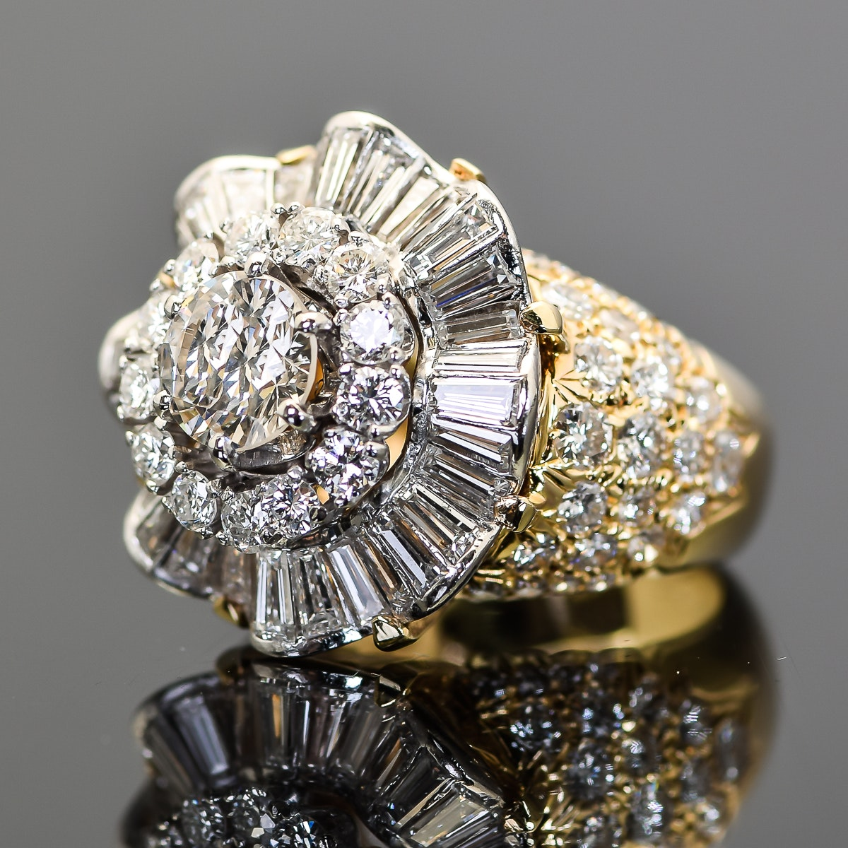 18K Yellow Gold, Platinum and 5.00 CTW Diamond Flower Ring