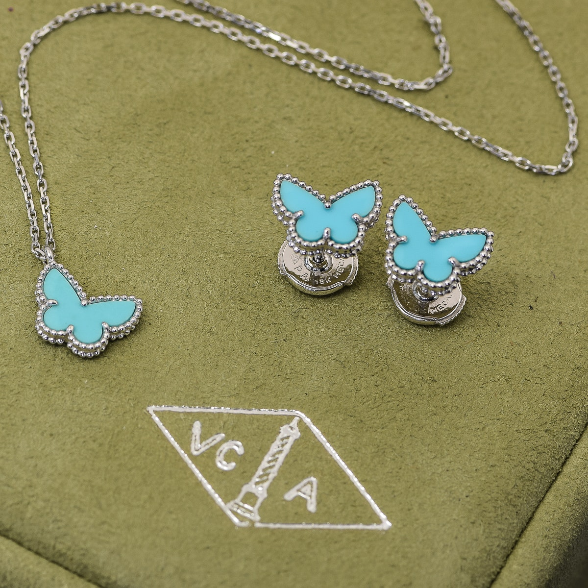 "Van Cleef & Arpels ""Sweet Alhambra"" 18K White Gold and Turquoise Butterfly Jewelry Set"