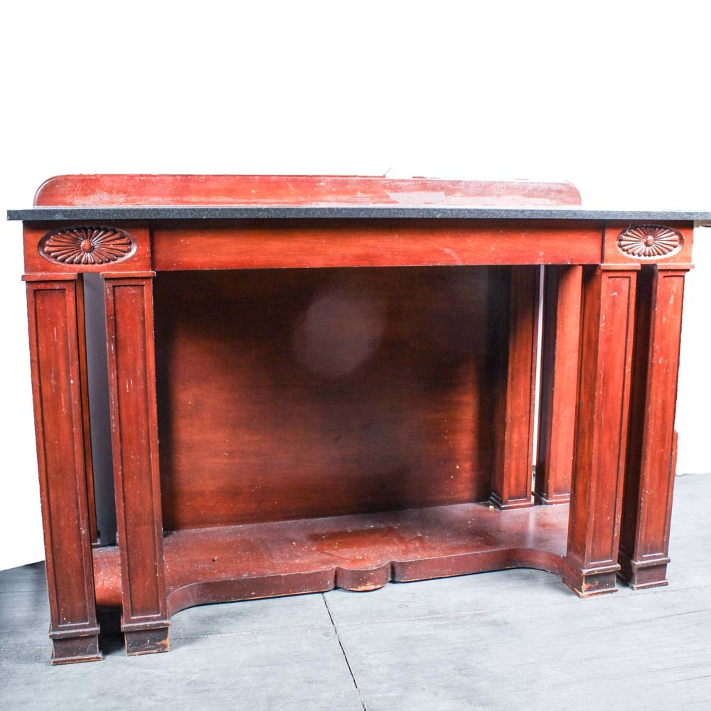 Cherry Wood Marble Top Tall Foyer Table