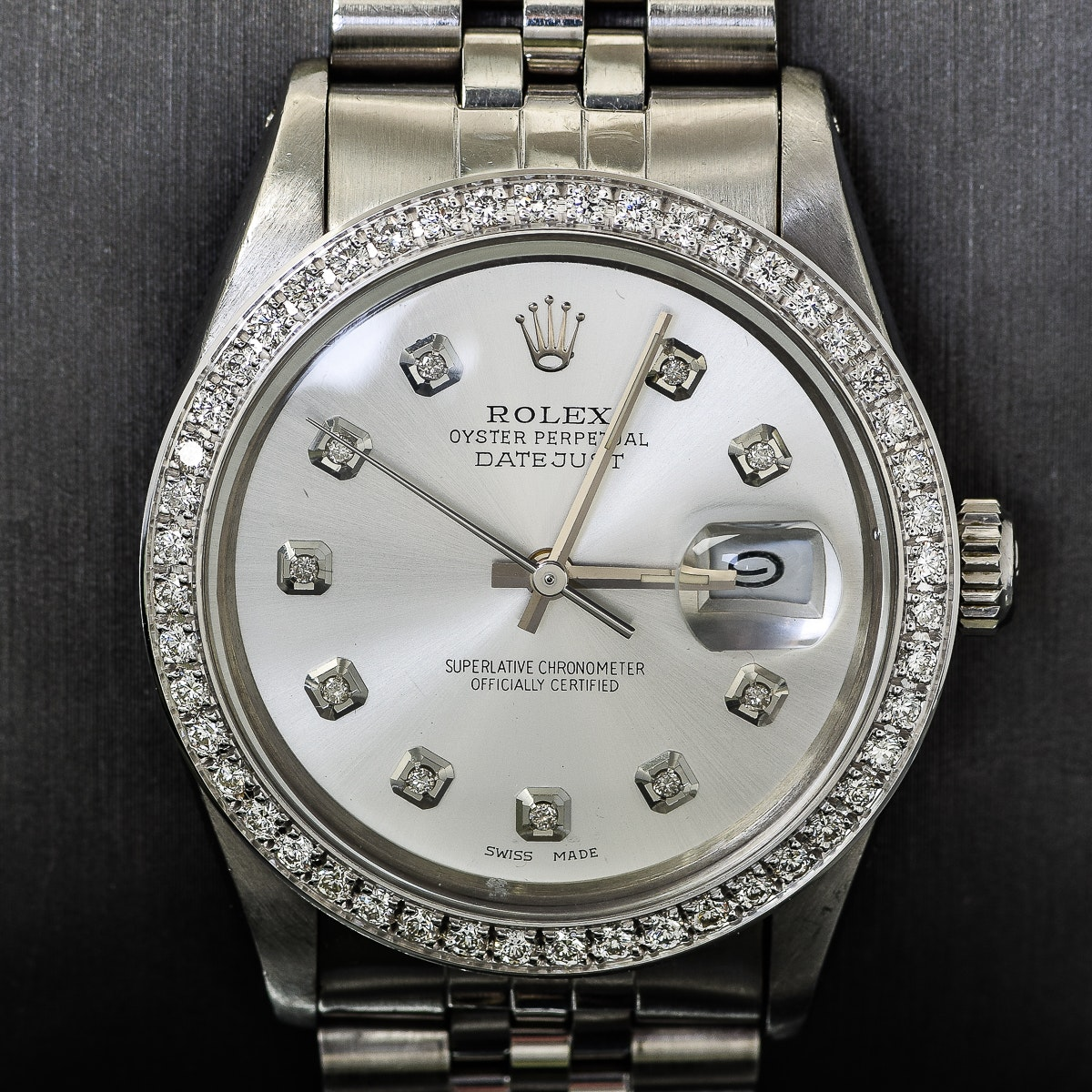 Men's Rolex Datejust Stainless Steel and Diamond Wristwatch
