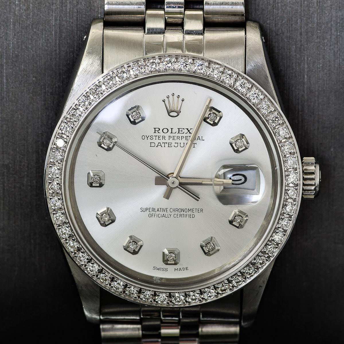 Men's Rolex Datejust Stainless Steel and Diamond Wristwatch