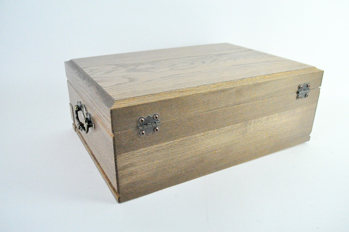 Oak flatware storage box ebth for Box for flatware storage