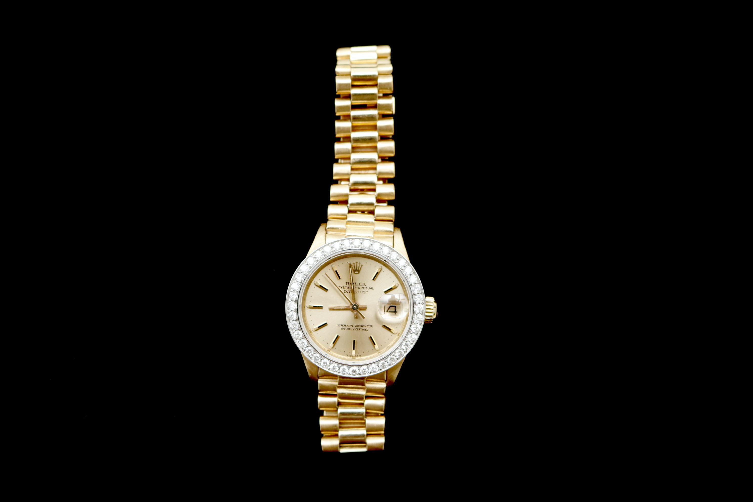 18K Yellow Gold and Diamond Rolex Wristwatch