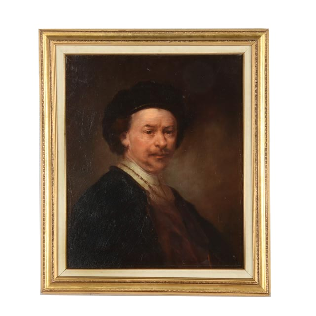 Jean Caein Copy Painting of Rembrandt Self Portrait