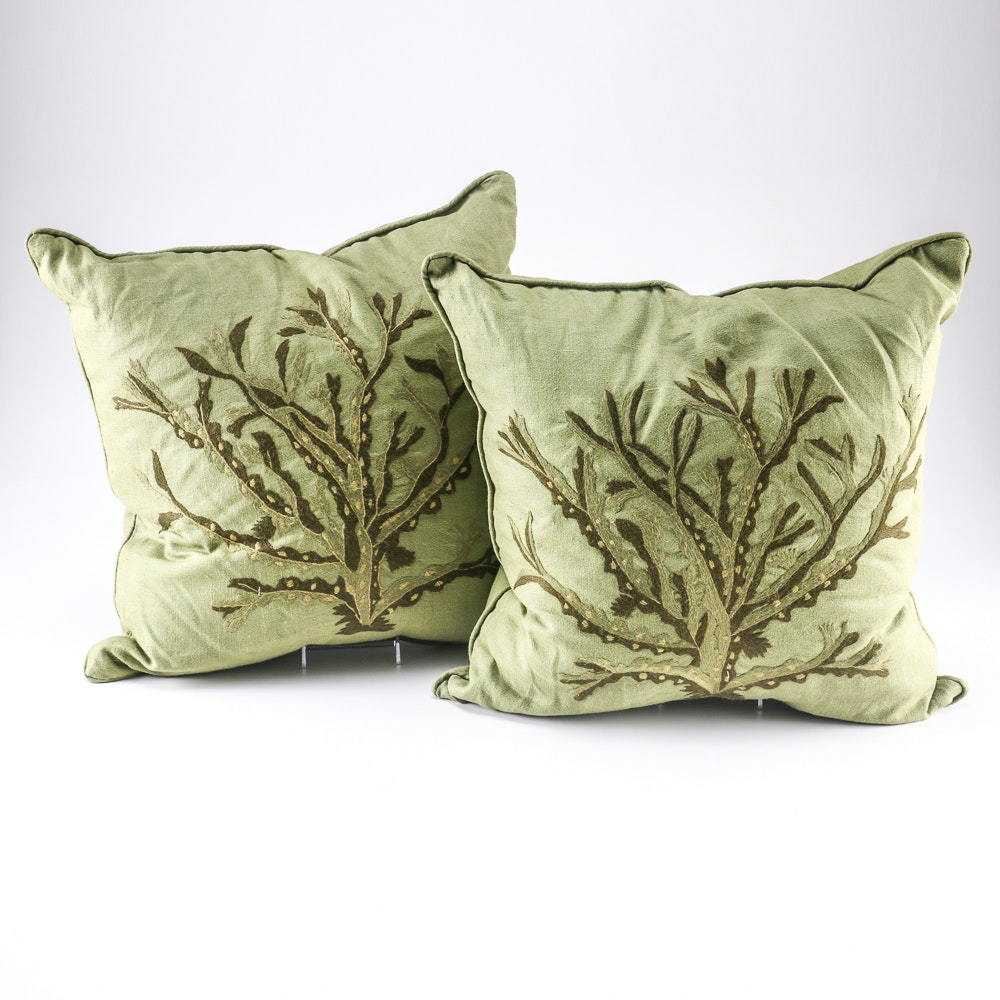 Pair of Embroidered Green Pillows