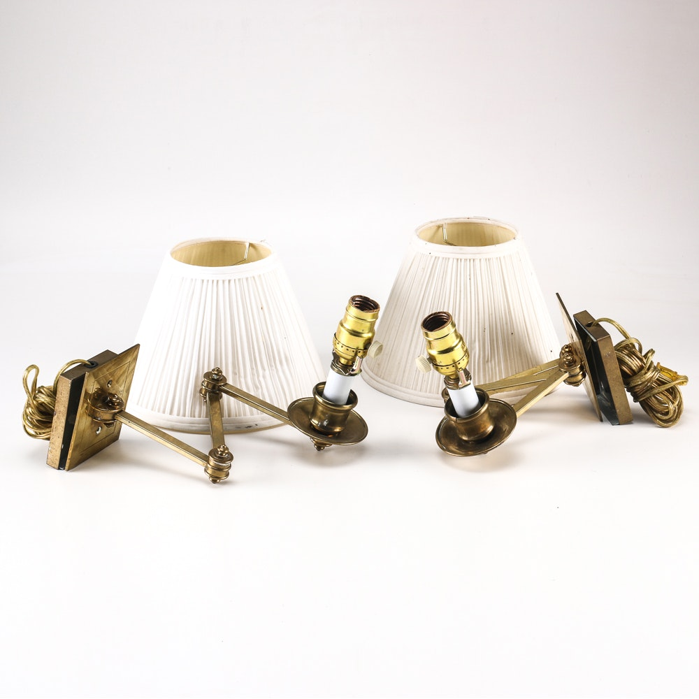 Pair of Wall Lamps with Shades
