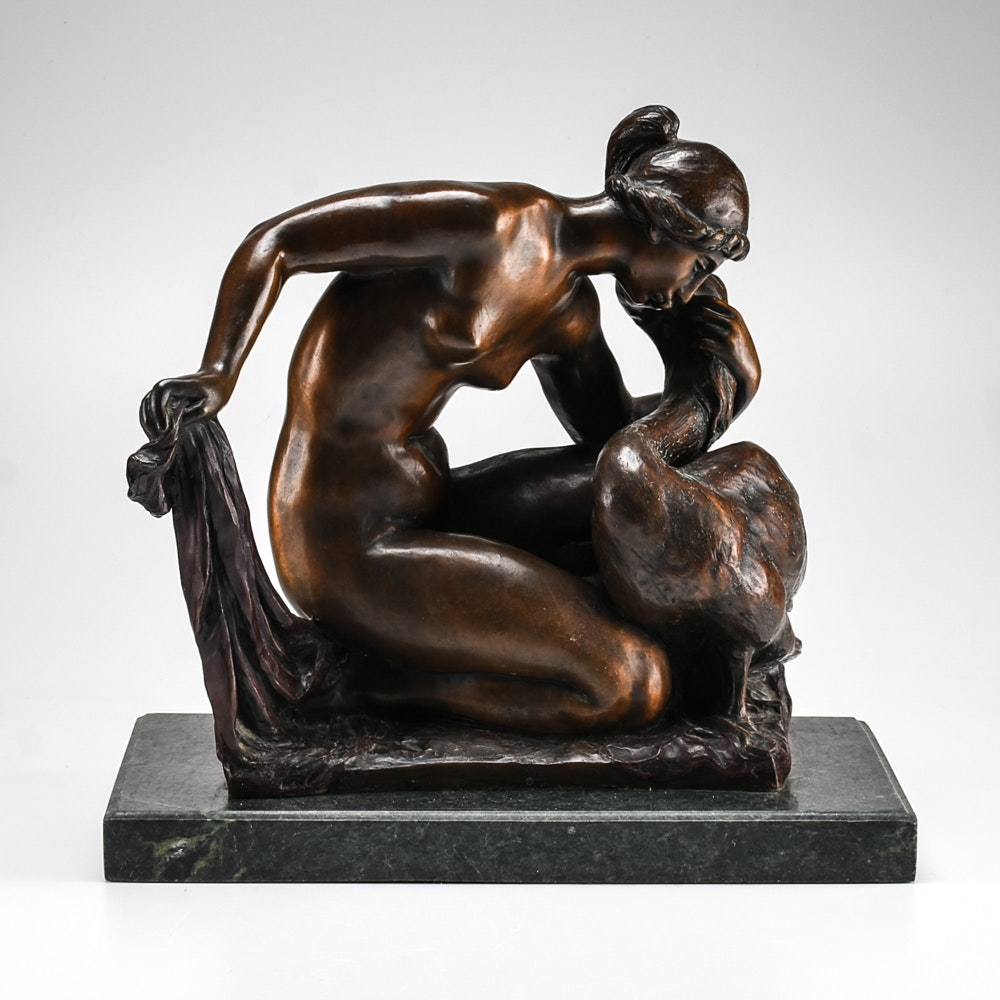 "Posthumously Cast Renoir-Guino Bronze ""Leda and the Swan"""