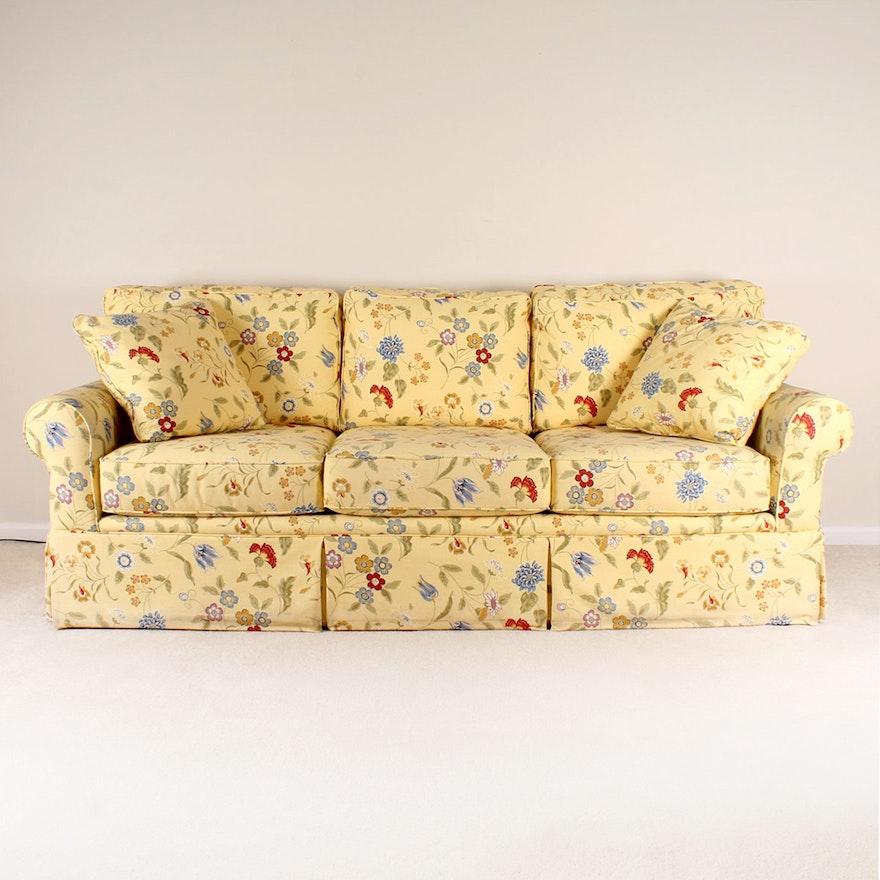 La Z Boy Quot Kincaid Quot Yellow Floral Sofa Ebth