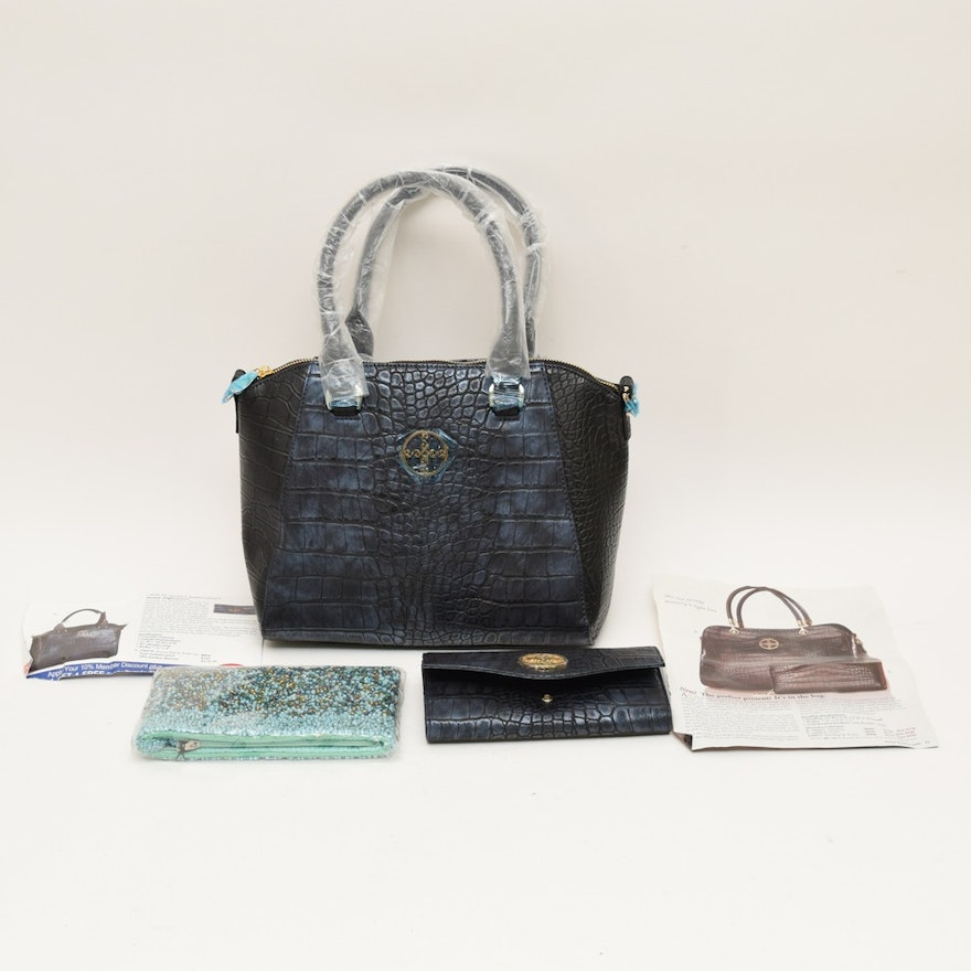 Navy Embossed Crocodile Leather Stauer Handbag Matching Wallet And Beaded Clutch