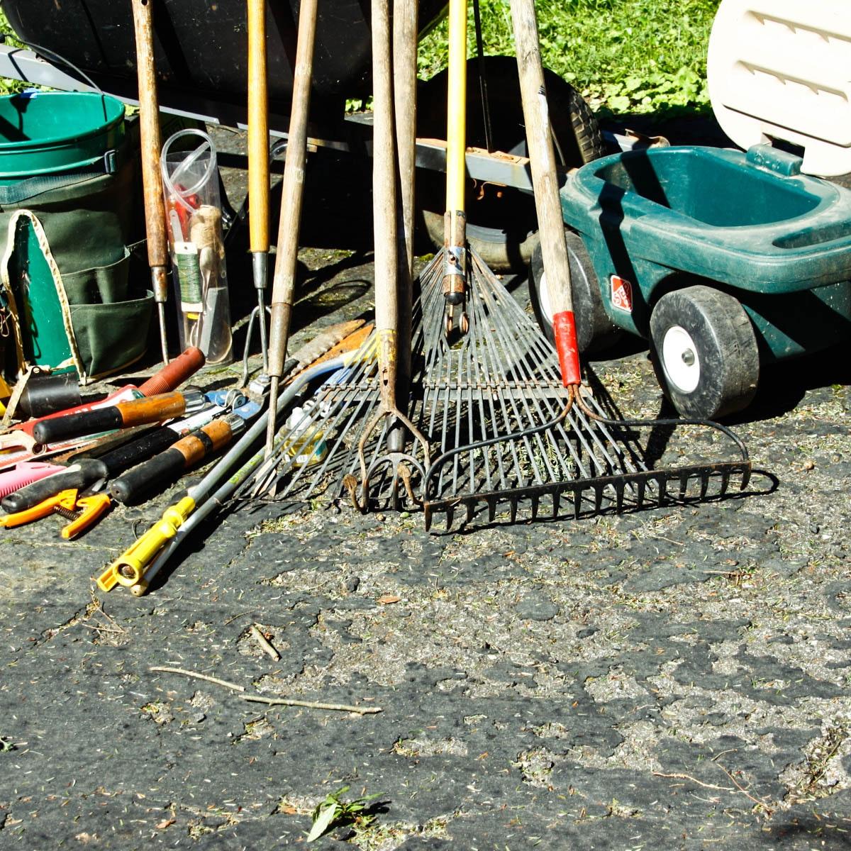 Wheelbarrow with gardening tools ebth for Best gardening tools 2016