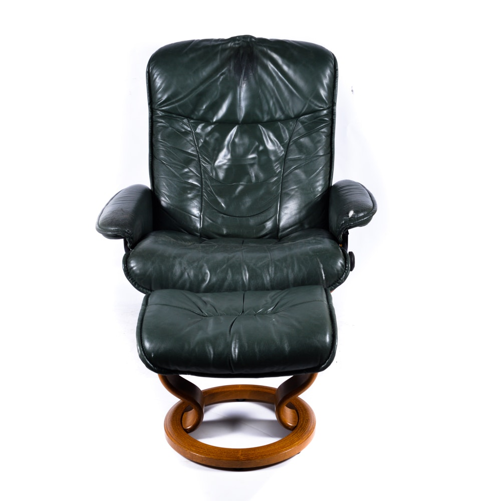 Beau Green Leather Reclining Chair ...