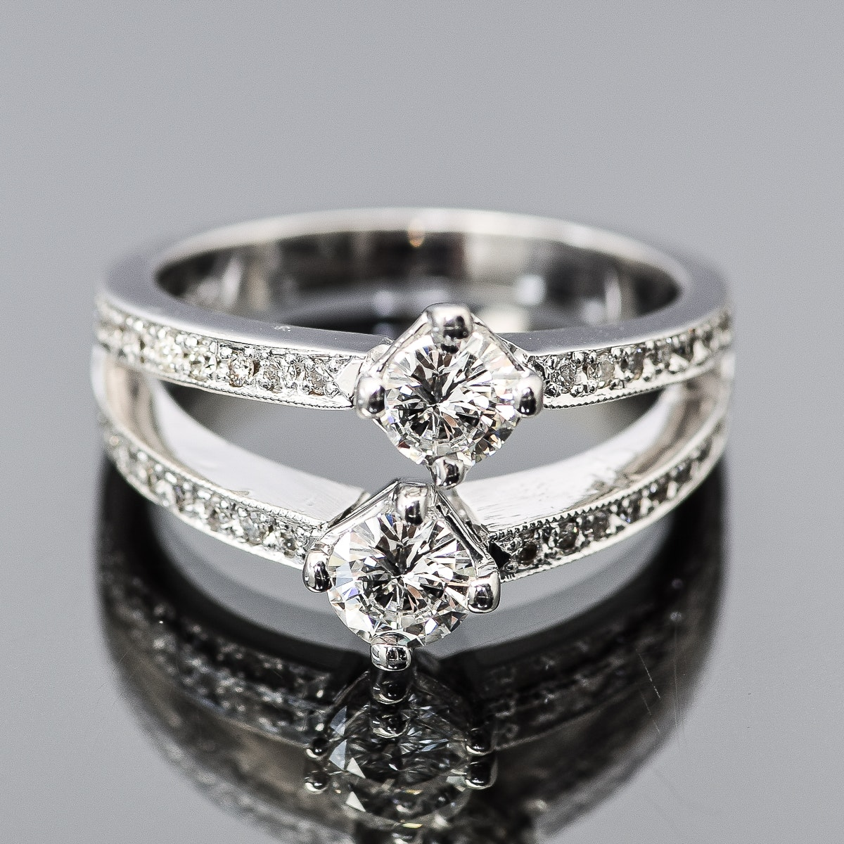 18K White Gold and 1.22 CTW Diamond Double Band Ring