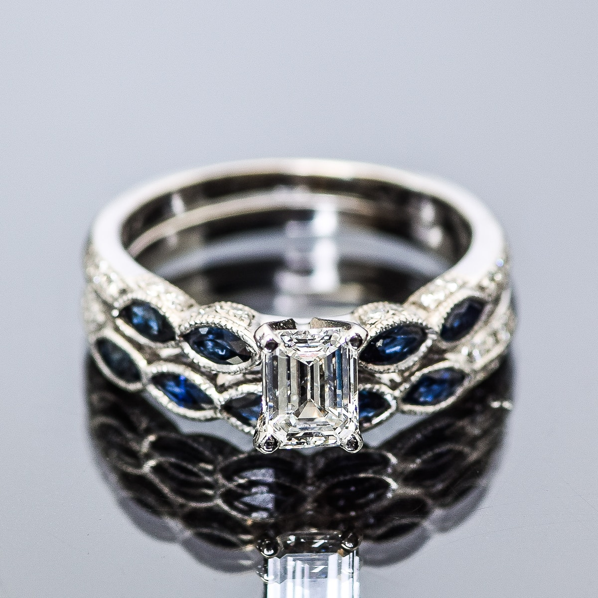 18K White Gold, Sapphire and 1.03 CTW Diamond Wedding Ring Set