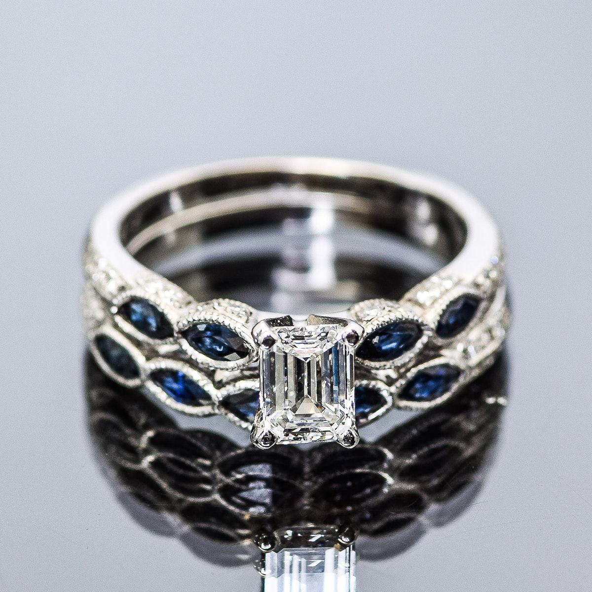 18K White Gold, Sapphire and 1.03 CTW Diamond Wedding Ring Set