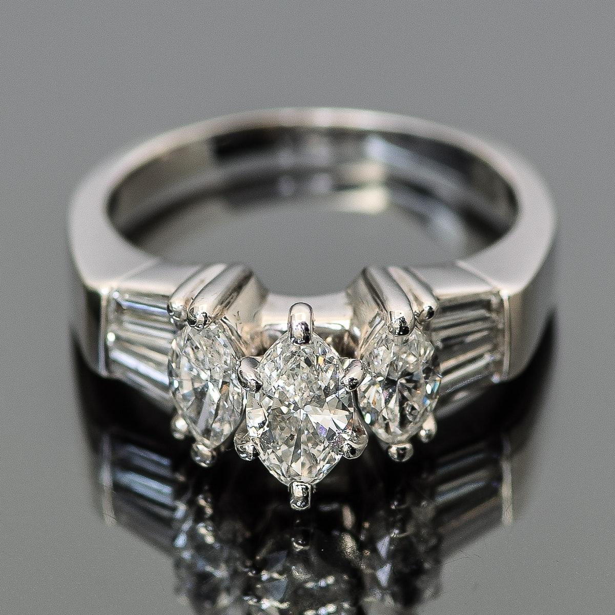 Platinum and 1.1 CTW Diamond Ring