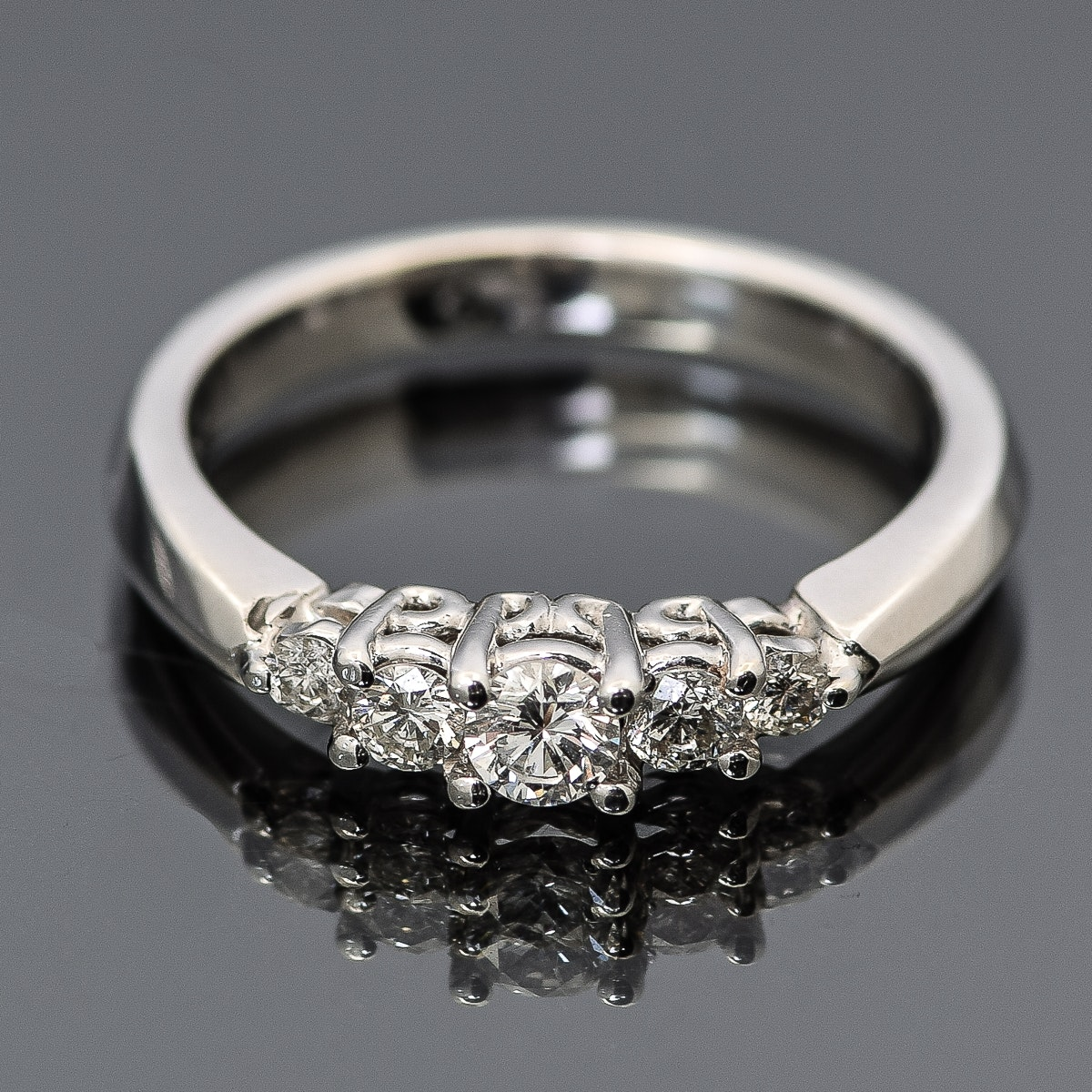 14K White Gold and Graduated Diamond Ring