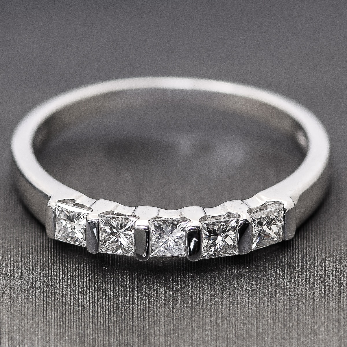 18K White Gold and Five Stone Princess Cut Diamond Band