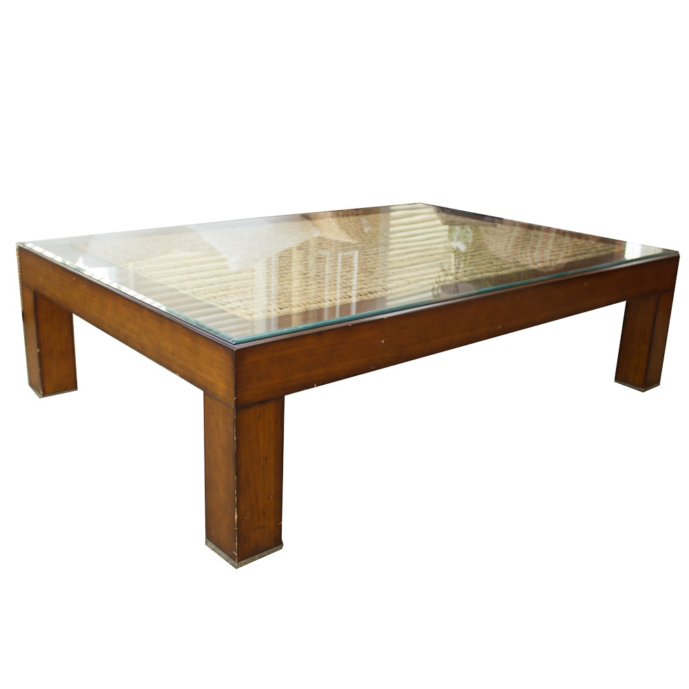 Glass Top Wood And Seagrass Coffee Table ...