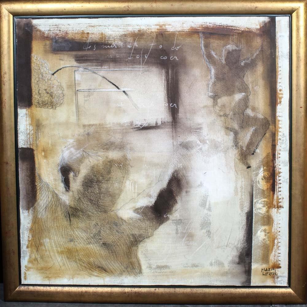 Large Listed Artist Maxim Lipzer Original Painting on Canvas