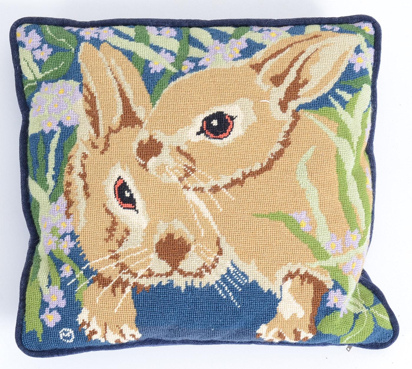 Four Needlepoint Pillows with Animal Motif : EBTH