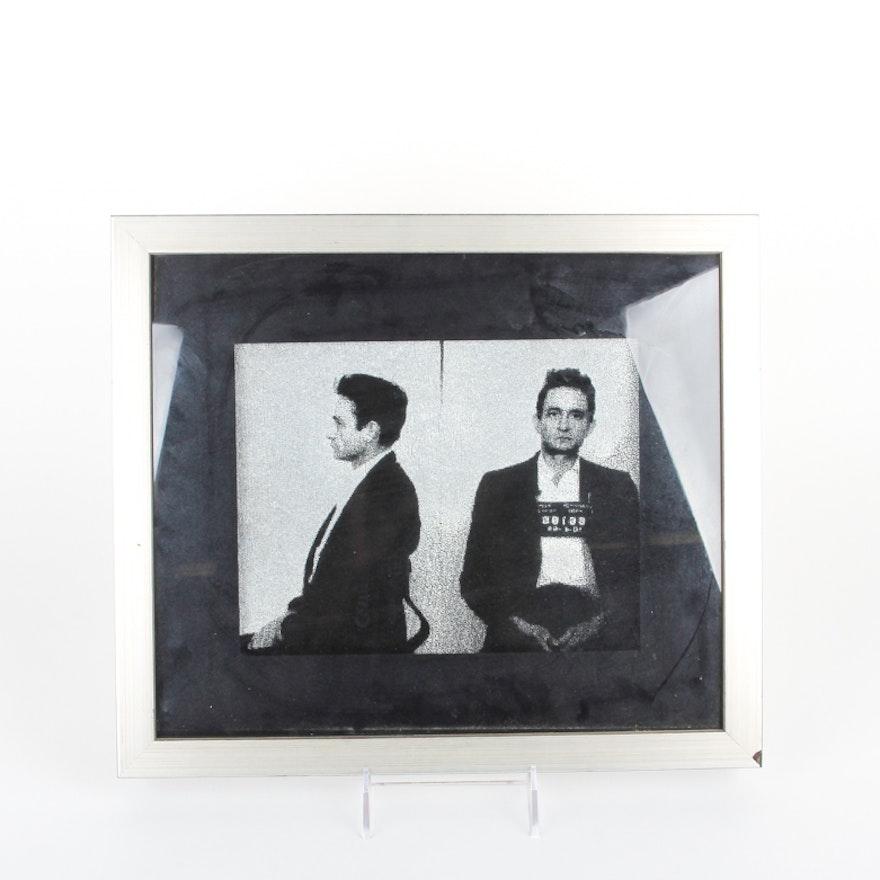 Framed Johnny Cash Painting on Velvet : EBTH