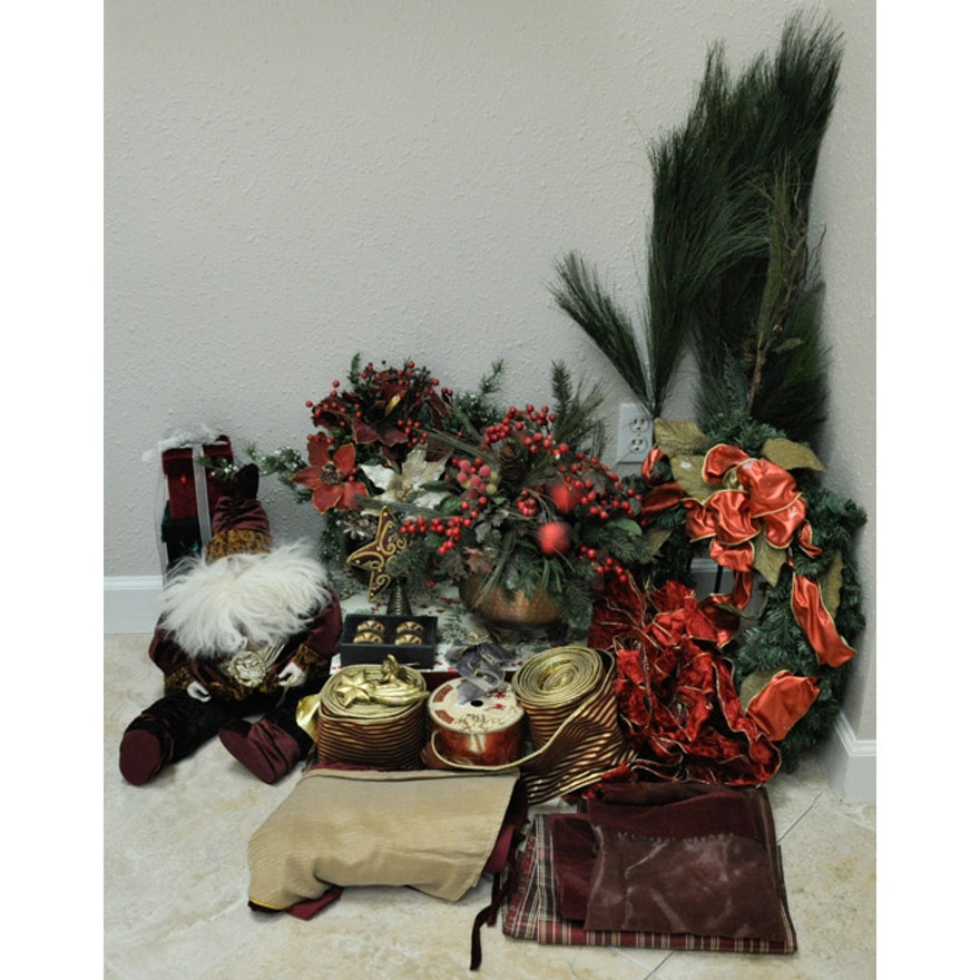 Burgundy And Gold Christmas Decor Ebth
