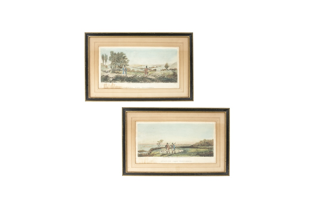 Quot First September Quot Hand Tinted Lithographs After G Jones