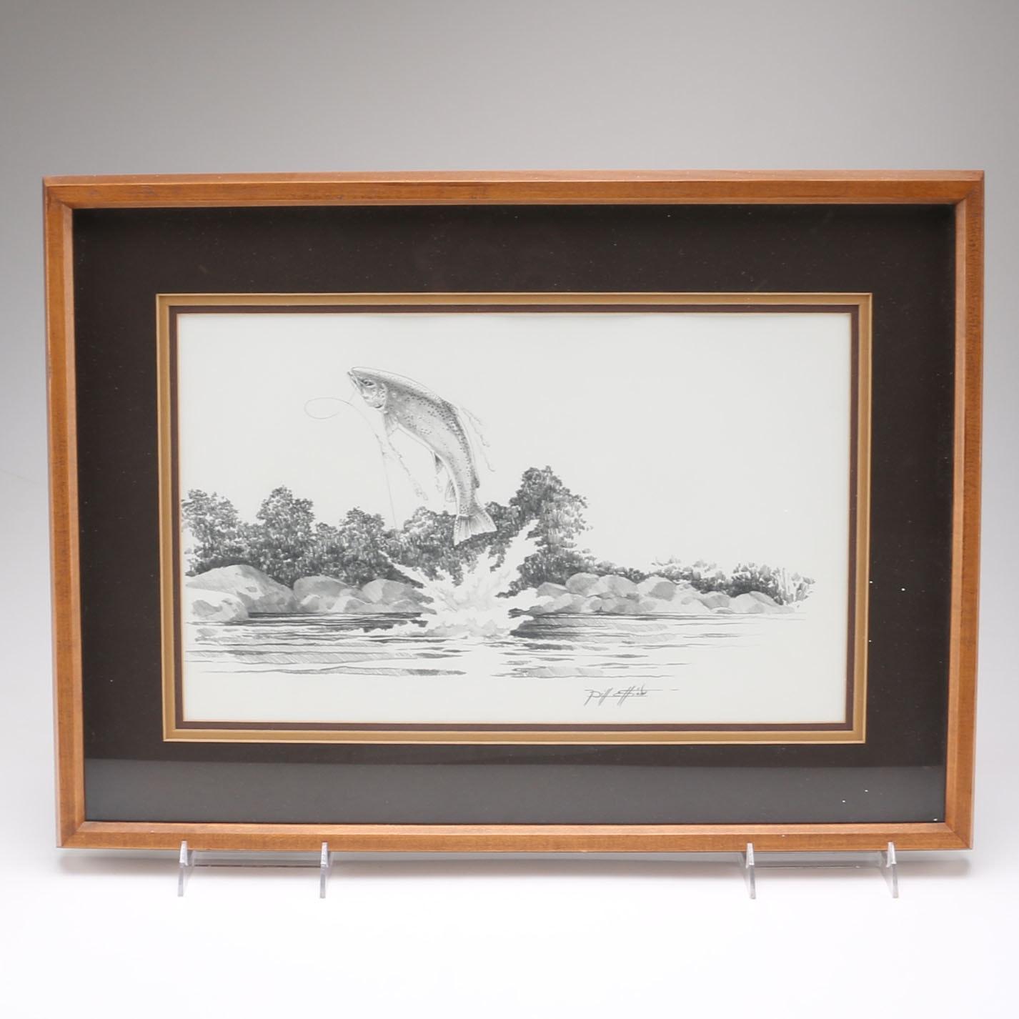 Bill Elliott Reproduction Print Fish Drawing