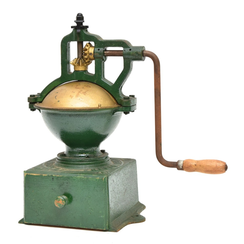 Antique French Green Painted Cast Iron Peugeot Freres And Brevetes SGDG Model A2 Coffee Grinder