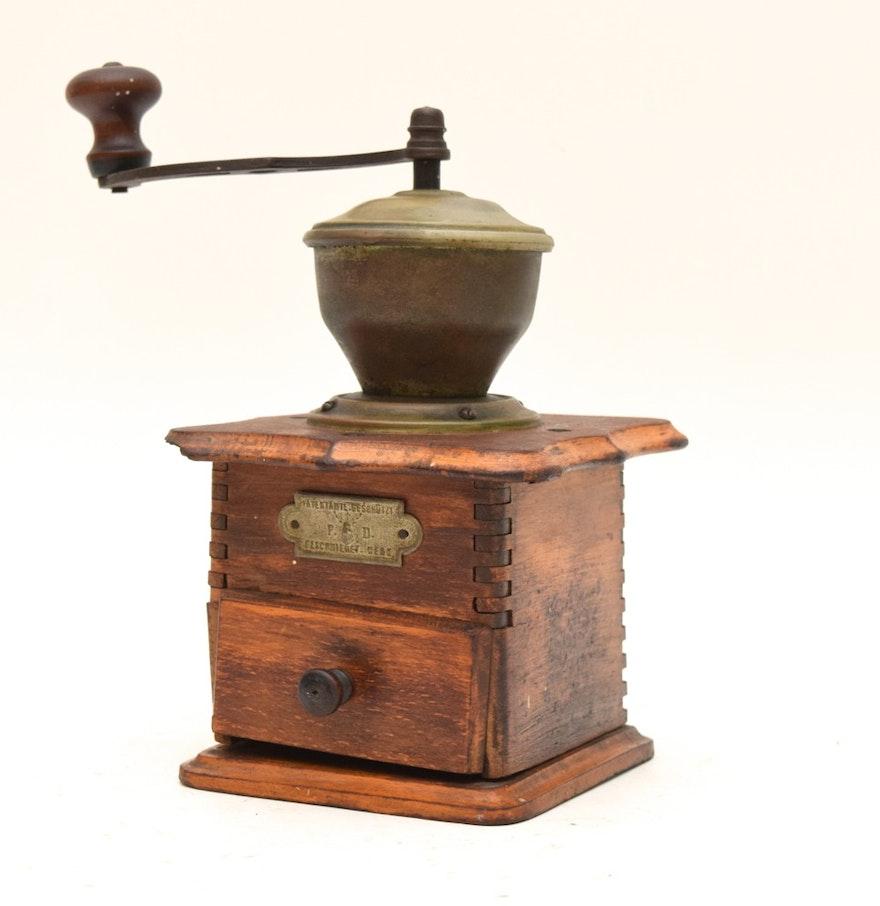 Coffee Grinder Of 1920 ~ S peter dienes dutch wood and brass tone metal coffee