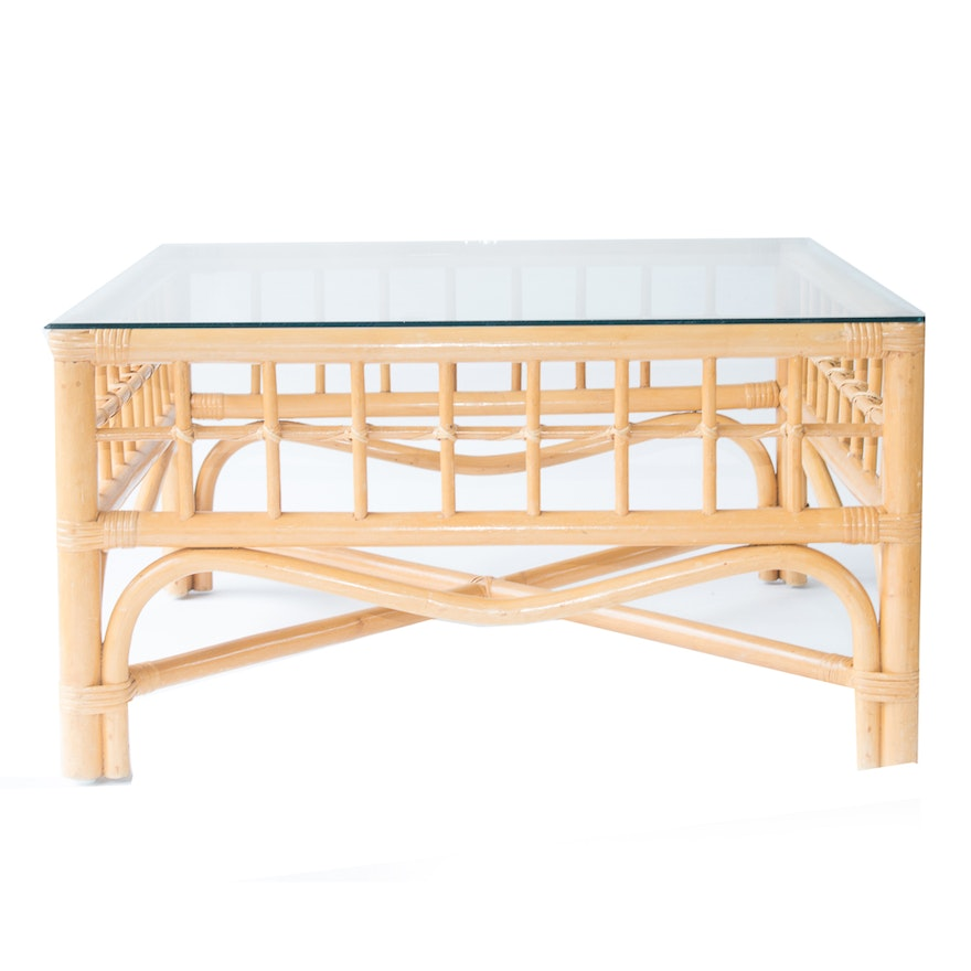 Vintage Bamboo Coffee Table With Gl Top